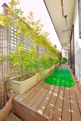 1階のリビングに面したウッドデッキは、陽当たりも良くガーデニングをお楽しみ頂けます。開放感や安らぎを感じる空間です。