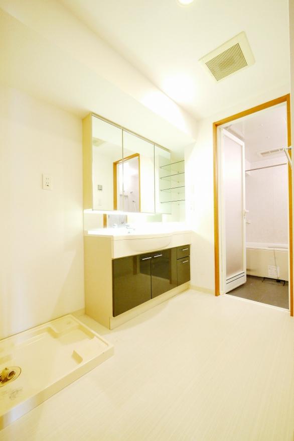 広い脱衣スペースのパウダールーム