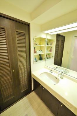 カウンター部分が広く、収納スペースが豊富な洗面化粧台。ランドリーズペースは扉付です。